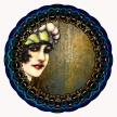 A flapper girl seen in the edge of an ornate circular mirror.
