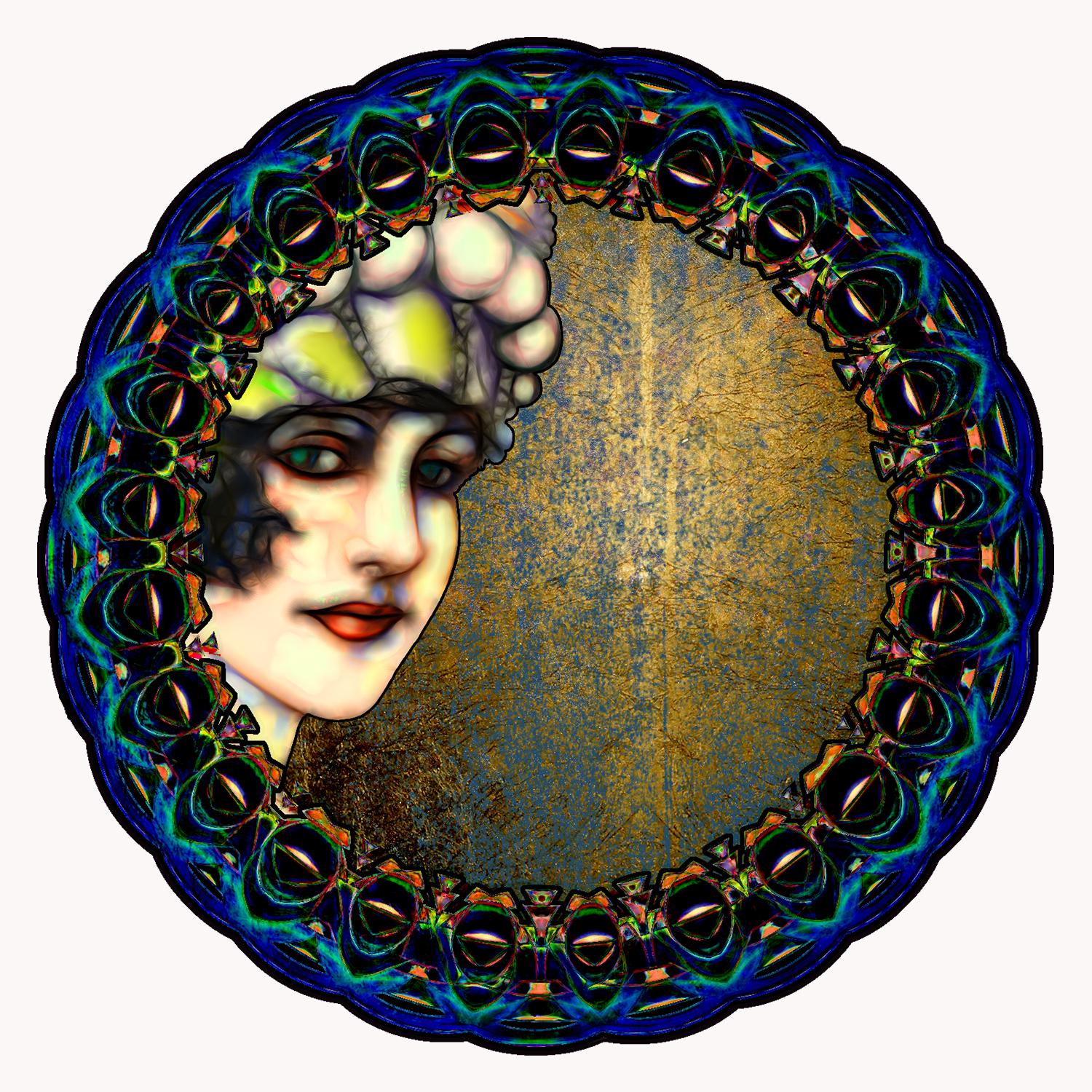 A flapper girl seen in the edge of an ornate circular mirror.