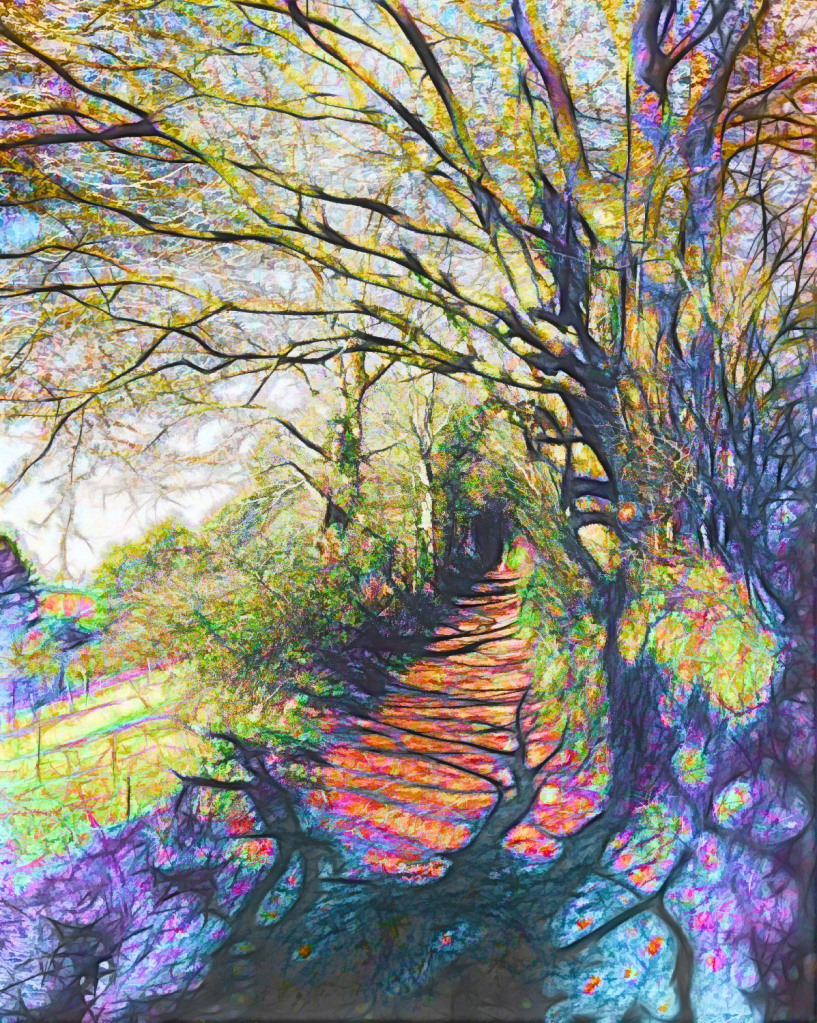 A picture of a woodland path. A spring walk in purple and blue light.
